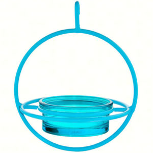 Blue Hanging Sphere Feeder with Perch