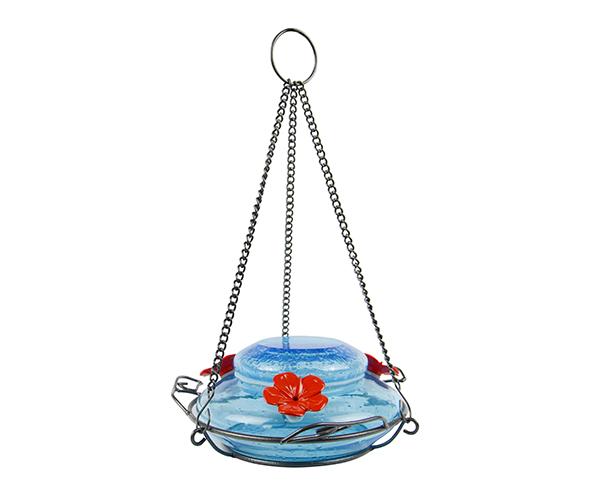 Garden Top-fill Mason Jar Blue Glass Hummingbird Feeder