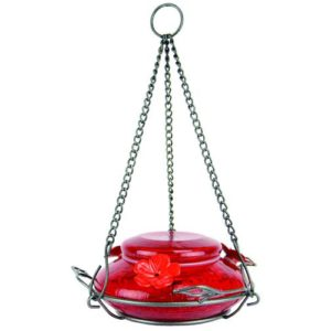 Modern Top-fill Red Crackle Glass Hummingbird Feeder