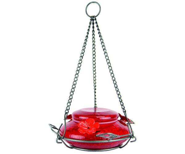 Modern Top-fill Red Crackle Glass Hummingbird Feeder