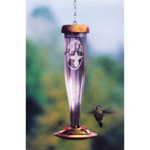 Amethyst Etched Hummingbird Lantern Feeder