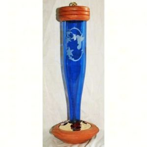 Cobalt Blue Etched Hummingbird Lantern Feeder