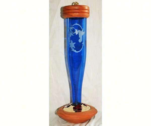 Cobalt Blue Etched Hummingbird Lantern Feeder