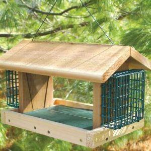 Large Plantation Hopper Feeder with 2 Suet Cages - Cedar