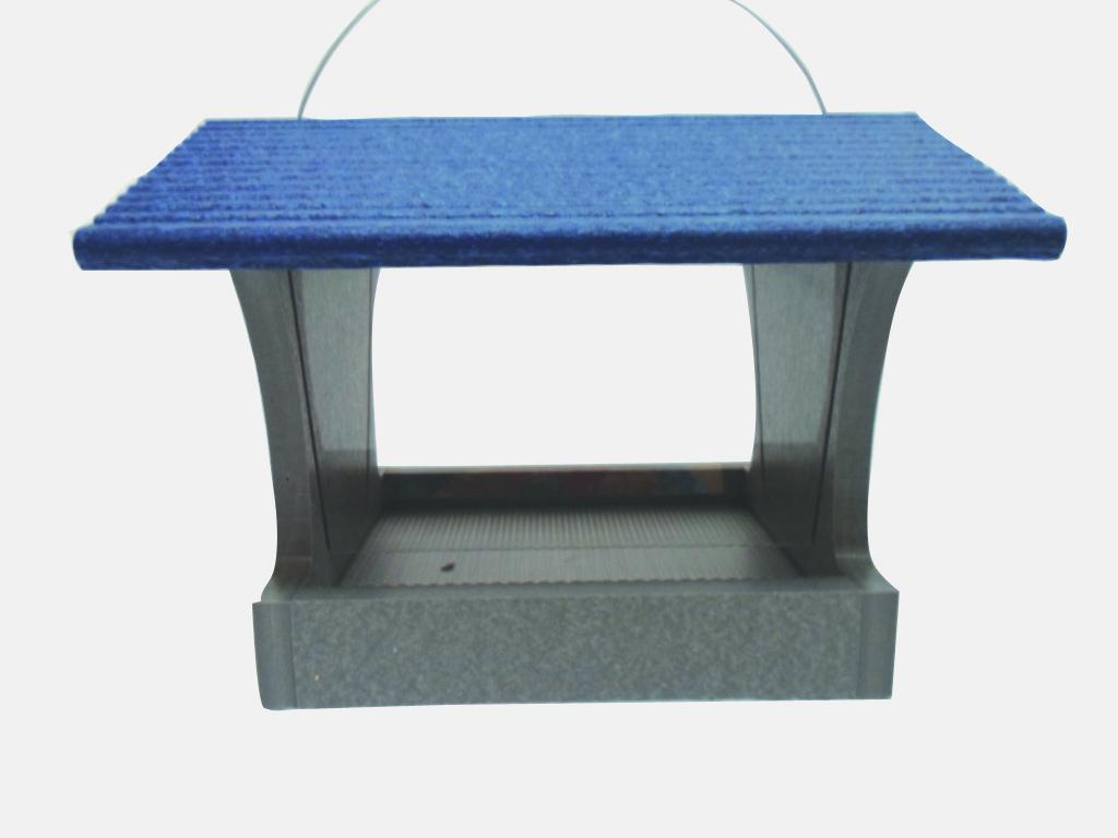 3 qt Recycled Hopper Feeder - gray/blue