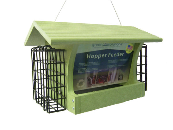 3 qt Recycled Hopper Feeder with Suet Cages - green