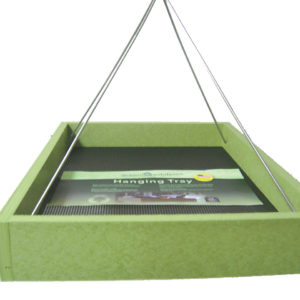 Large Recycled Hanging Tray with Silver Rods - green