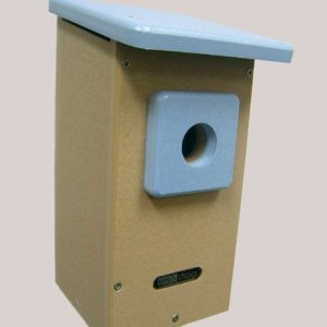 Recycled Western/Mountain Bluebird House - taupe/blue