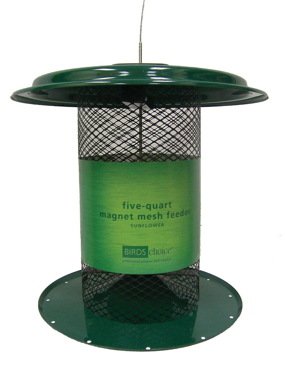 5 qt Magnet Mesh Sunflower Feeder - green